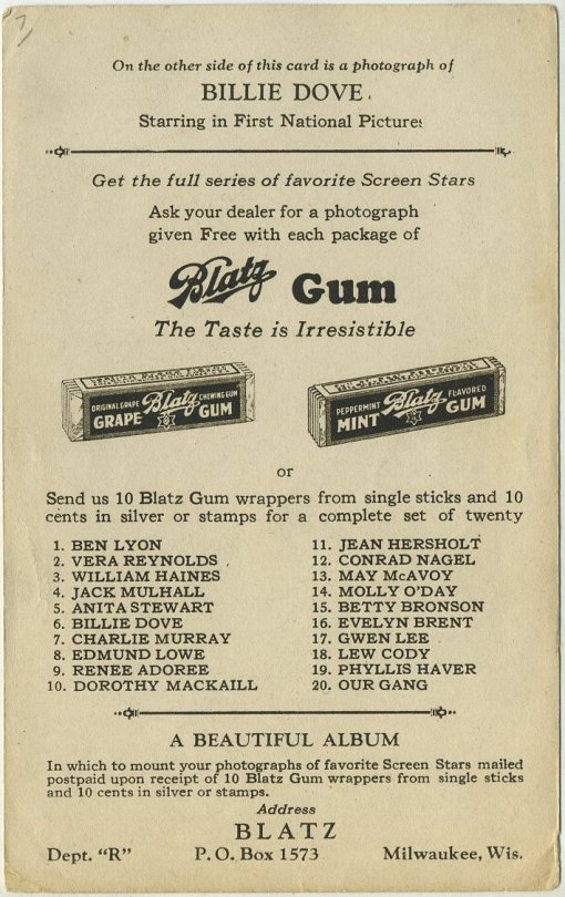 Reverse side of Blatz Gum card includes checklist