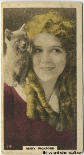 Mary Pickford 1924 Moustafa Hand-Coloured Pictures of Cinema Stars Tobacco Card