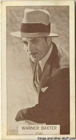 Warner Baxter 1934 Wills Famous Film Stars Tobacco Card