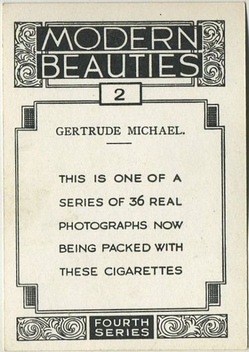 Example of Reverse 1937 BAT Modern Beauties Tobacco Card