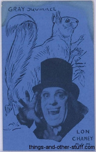 Lon Chaney and Grey Squirrel 1920s Strip Card in Blue