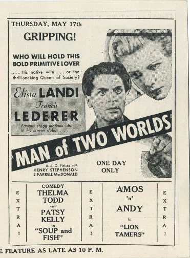 Man of Two Worlds advertised in Clementon Theatre program