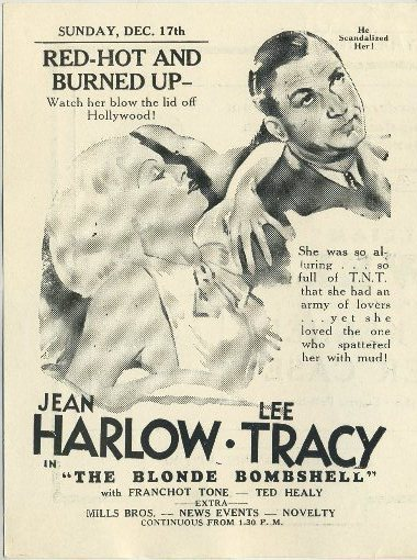 Jean Harlow and Lee Tracy in Bombshell advertised in Clementon Theatre program