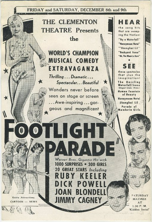 Footlight Parade advertised in Clementon Theatre program