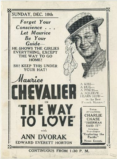 Maurice Chevalier in The Way to Love advertised in Clementon Theatre program