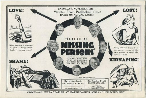 Bureau of Missing Persons advertised in Clementon Theatre program