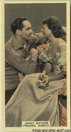 Fredric March and Janet Gaynor 1939 A and M Wix Tobacco Card