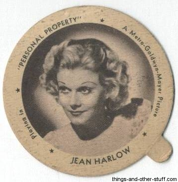 Jean Harlow 1930s Dixie Cup Lid