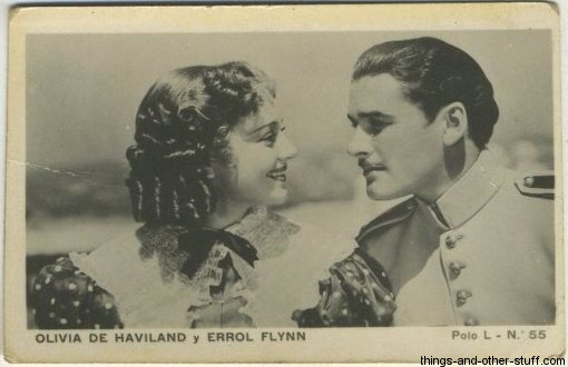 Olivia De Havilland and Errol Flynn 1938 Polo L Tobacco Card