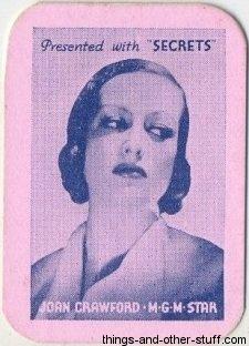 1935 Joan Crawford Secrets Magazine Mini Playing Card