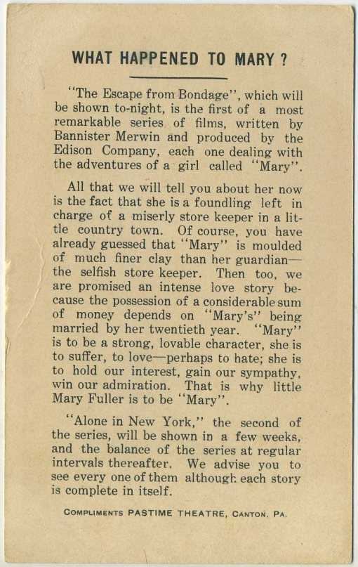 Reverse side of Mary Fuller 1912 What Happened to Mary? Advertising Card