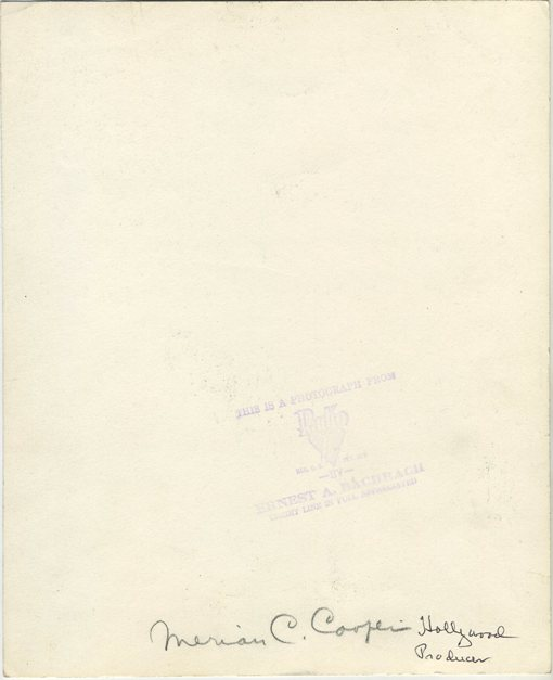 Reverse of Merian C Cooper Press Photo