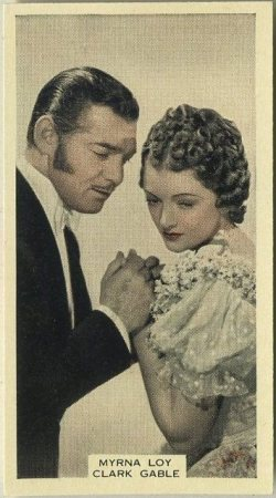 Clark Gable and Myrna Loy in Parnell on a 1939 A and M Wix tobacco card