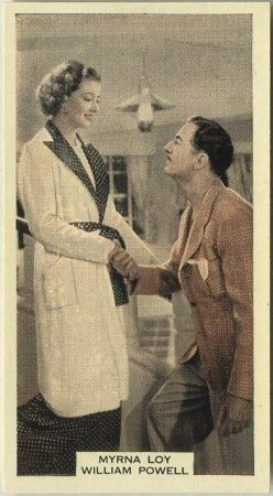 Myrna Loy and William Powell 1939 A and M Wix tobacco card