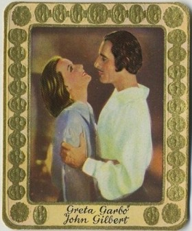 Greta Garbo and John Gilbert 1930s Garbaty Tobacco Card