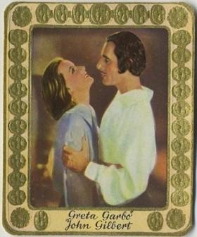 Greta Garbo and John Gilbert 1930s Garbaty Tobacco Card