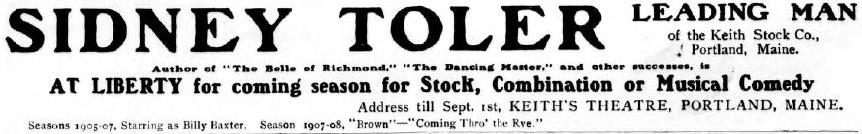Sidney Toler Leading Man ad from 1908
