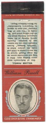 William Powell 1930s Matchbook Cover