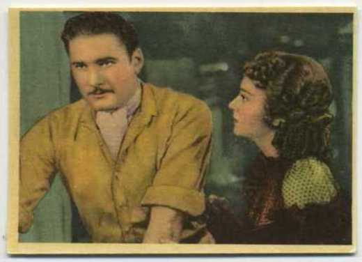 Errol Flynn and Olivia de Havilland Cigarillos Okey Tobacco Card from Chile