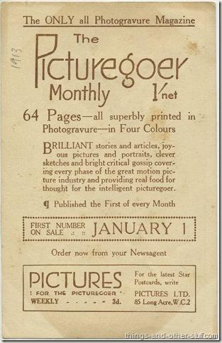 Picturegoer Advertising Promotional Card