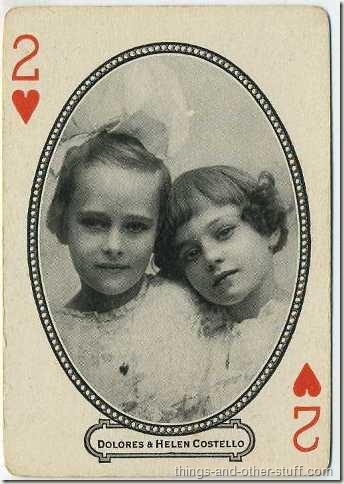 Dolores and Helene Costello picturing on a circa 1916 MJ Moriarty Playing Card