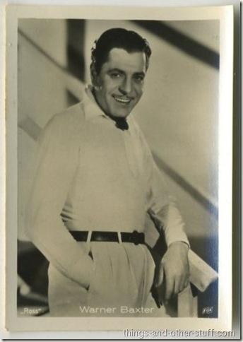 Warner Baxter 1930s Haus Bergmann tobacco card