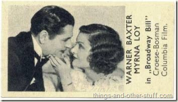 Warner Baxter and Myrna Loy on a 1930s Shirleys Gum trading card