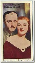 William Powell and Myrna Loy 1935 Carreras tobacco card