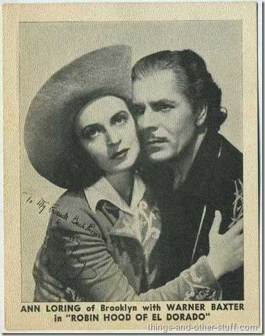 Warner Baxter and Ann Loring on a 1936 promotional photo for Robin Hood of El Dorado