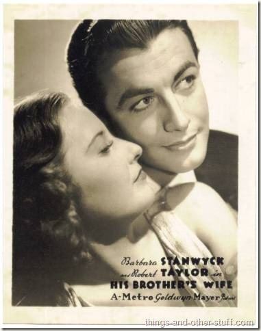 Robert Taylor with Barbara Stanwyck on circa 1936 Watkins-MGM Promotional Photo