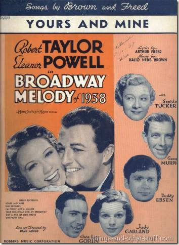 Taylor with Eleanor Powell and others on Yours and Mine sheet music for Broadway Melody of 1938