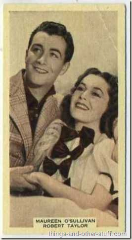 1939 A and M Wix tobacco card features Taylor with Maureen OSullivan