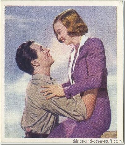 1939 Godfrey Phillips Famous Love Scenes tobacco card of Robert Taylor with Margaret Sullavan