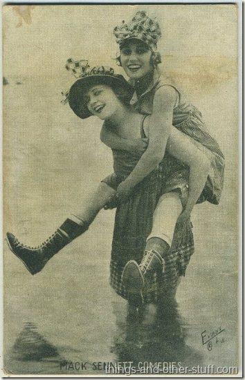 Phyllis Haver and Gloria Swanson 1920s Mack Sennett Comedies Arcade Card