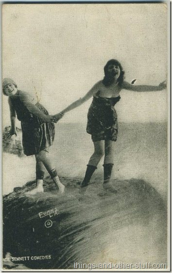 Gonda Durand and Alice Maison 1920s Mack Sennett Comedies Arcade Card
