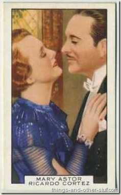 Mary Astor with Ricardo Cortez on a 1935 Gallaher tobacco card