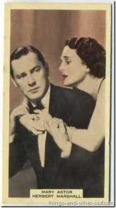 Mary Astor with Herbert Marshall on a 1939 A and M Wix tobacco card