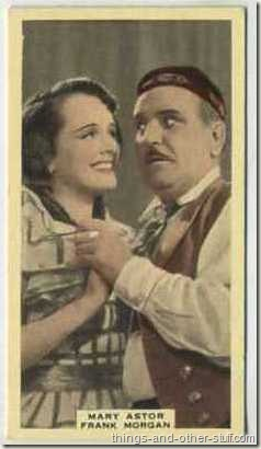 Mary Astor with Frank Morgan on a 1939 A and M Wix tobacco card