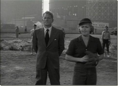 Lana Turner on the mound with Spencer Tracy umpiring in Cass Timberlane