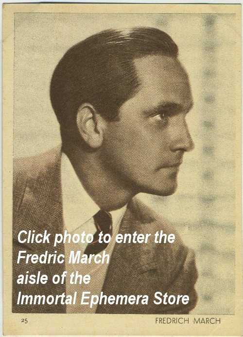 Fredric March Collectibles and Movie Cards in the Immortal Ephemera Store