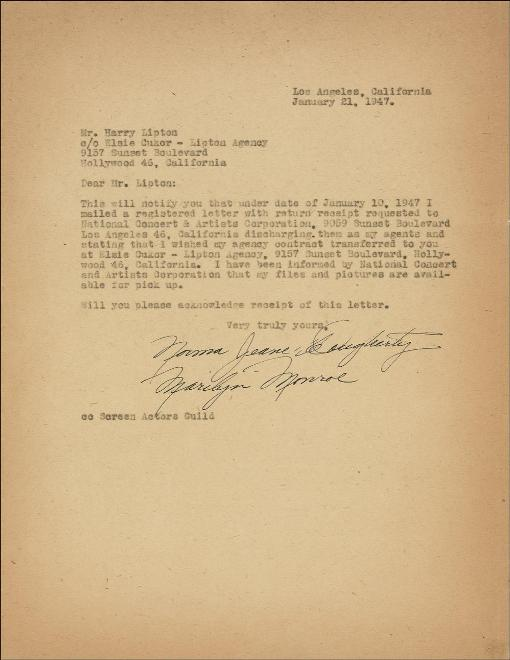 Earliest document signed Marilyn Monroe being auctioned by Nate D Sanders Auctions