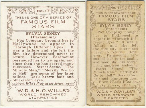 Reverse side 1934 Wills Famous Film Stars Medium and Small Tobacco Cards