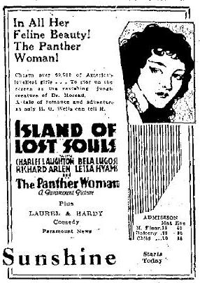 April 1 1933 Island of Lost Souls Newspaper Ad