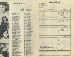 1950s Hollywood Studios Brochure Order Form