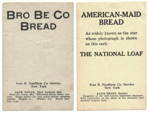 Reverse side of Ivan B Nordem Bread Premiums