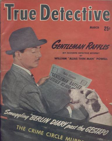 William Powell with Asta on March 1942 True Detective Magazine Cover