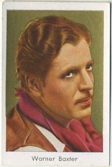Warner Baxter 1934 Bulgaria Brand Tobacco Card