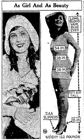 Dorothy Dell Miss Universe coverage in the August 15 1930 Cumberland Evening Times