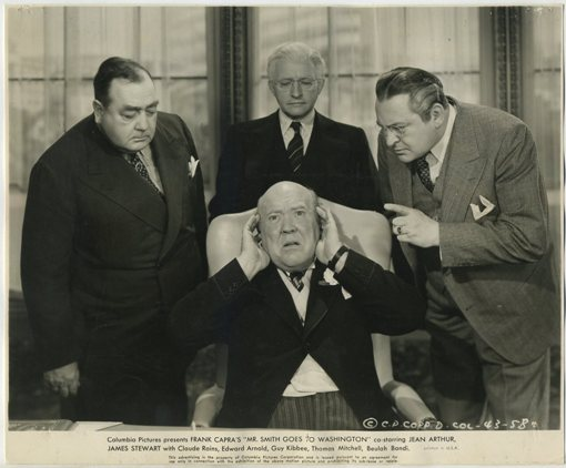 What a bunch of characters! Guy Kibbee covers his ears with Eugene Pallette, Claude Rains and Edward Arnold surrounding him in Mr Smith Goes to Washington