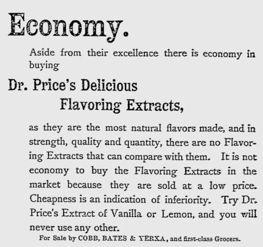 Dr Price's 1892 Economy ad